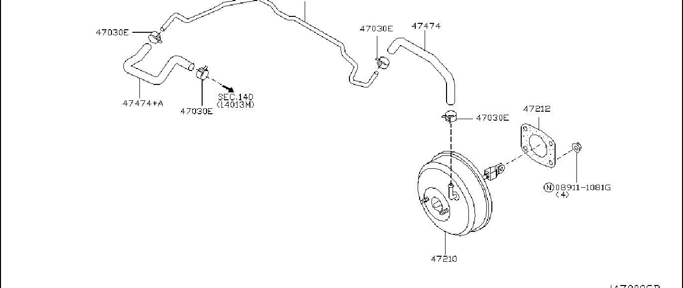 Nissan 350z Power Brake Booster Vacuum Hose Connector Clip